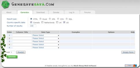 Easily Generate Sample Datasets for Testing at GenerateData